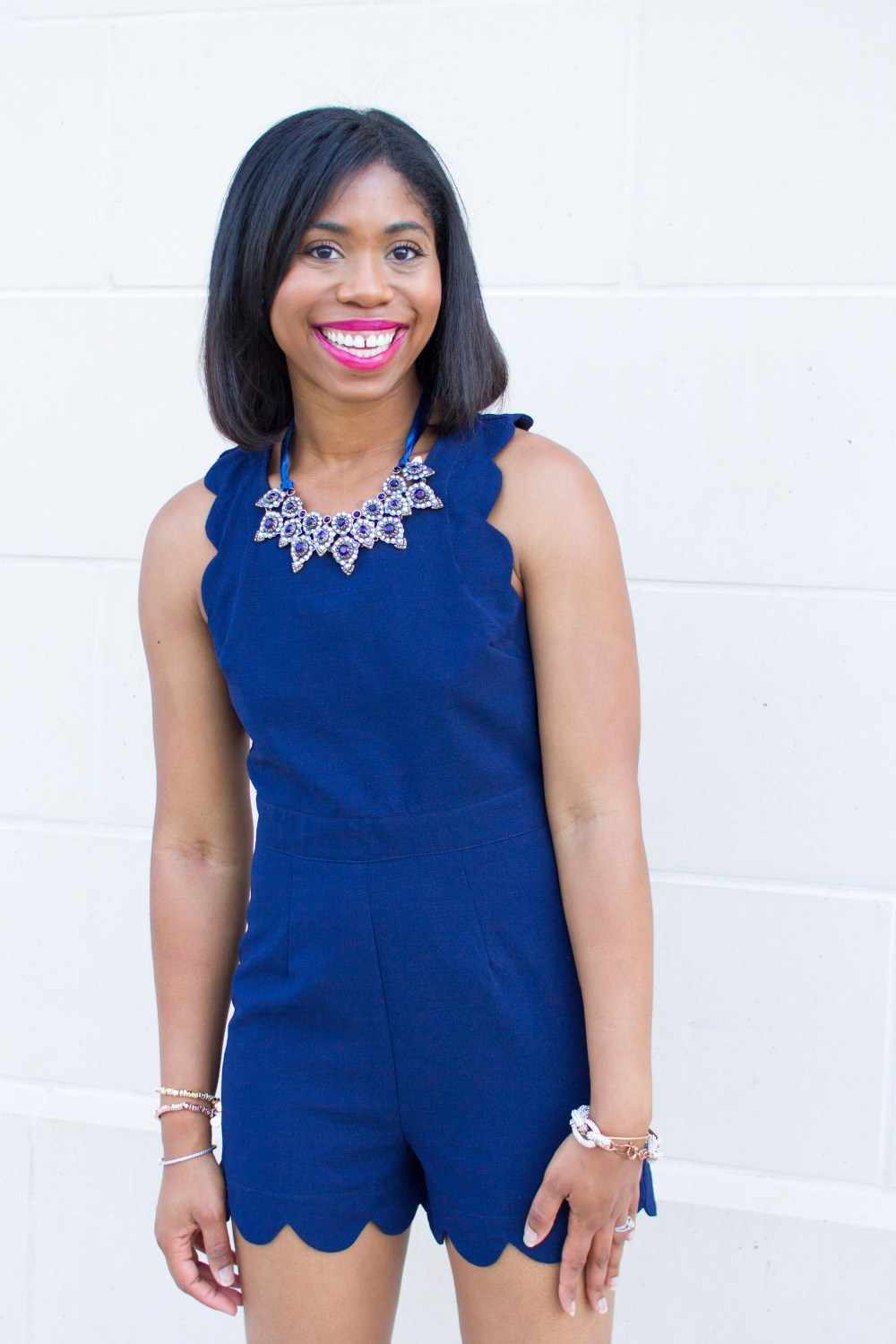 scallops blue jumpsuit park lane jewelry date night style short bob sew in style black hair