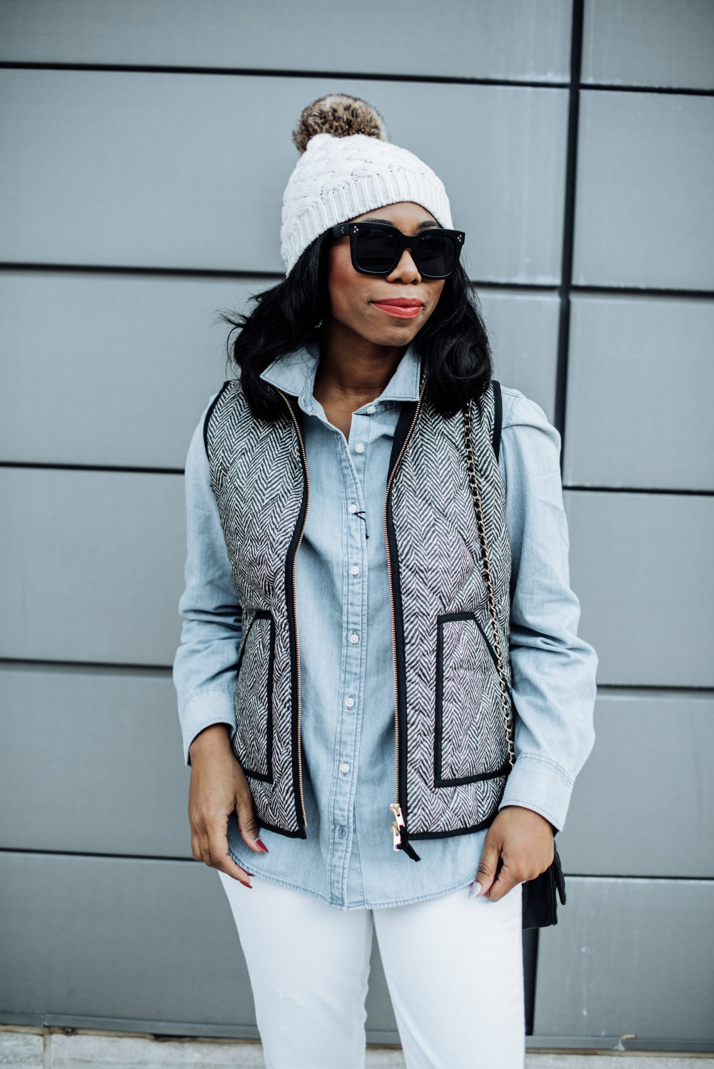 preppy look how to style j. crew chambray shirt quilted vest fall style stephanie steph taylor jackson