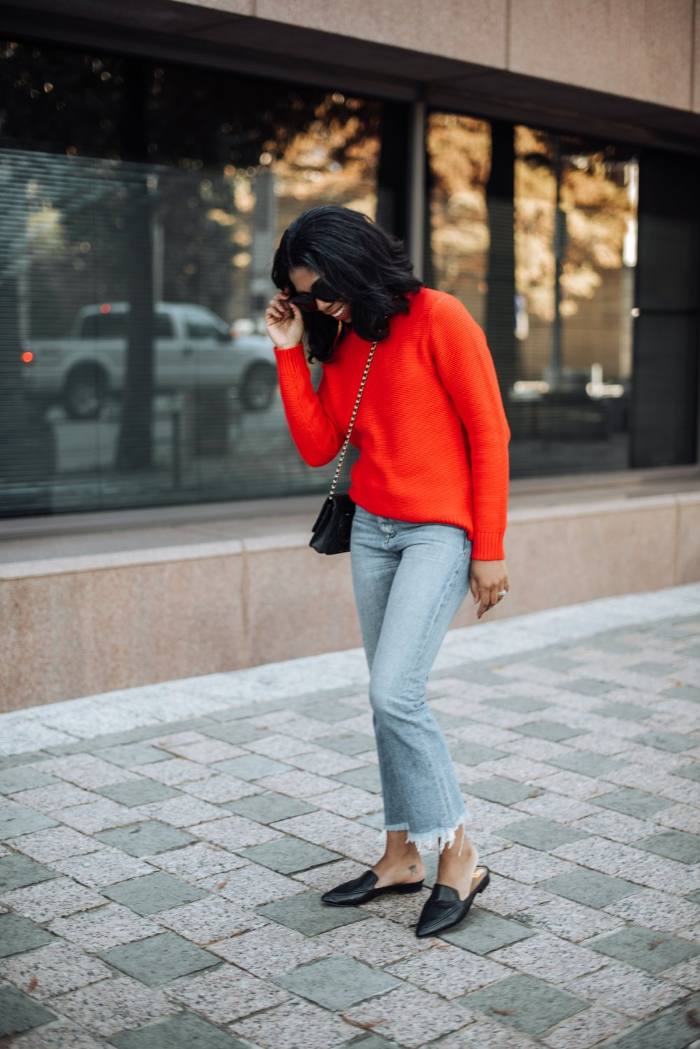 red sweater lucky brand jeans black mules dallas black fashion blogger stephanie taylor jackson