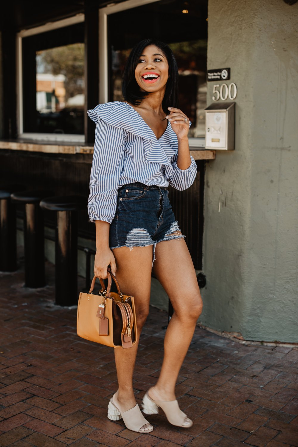denim shorts fashion outfit inspiration summer style dallas stylists stephanie taylor jackson