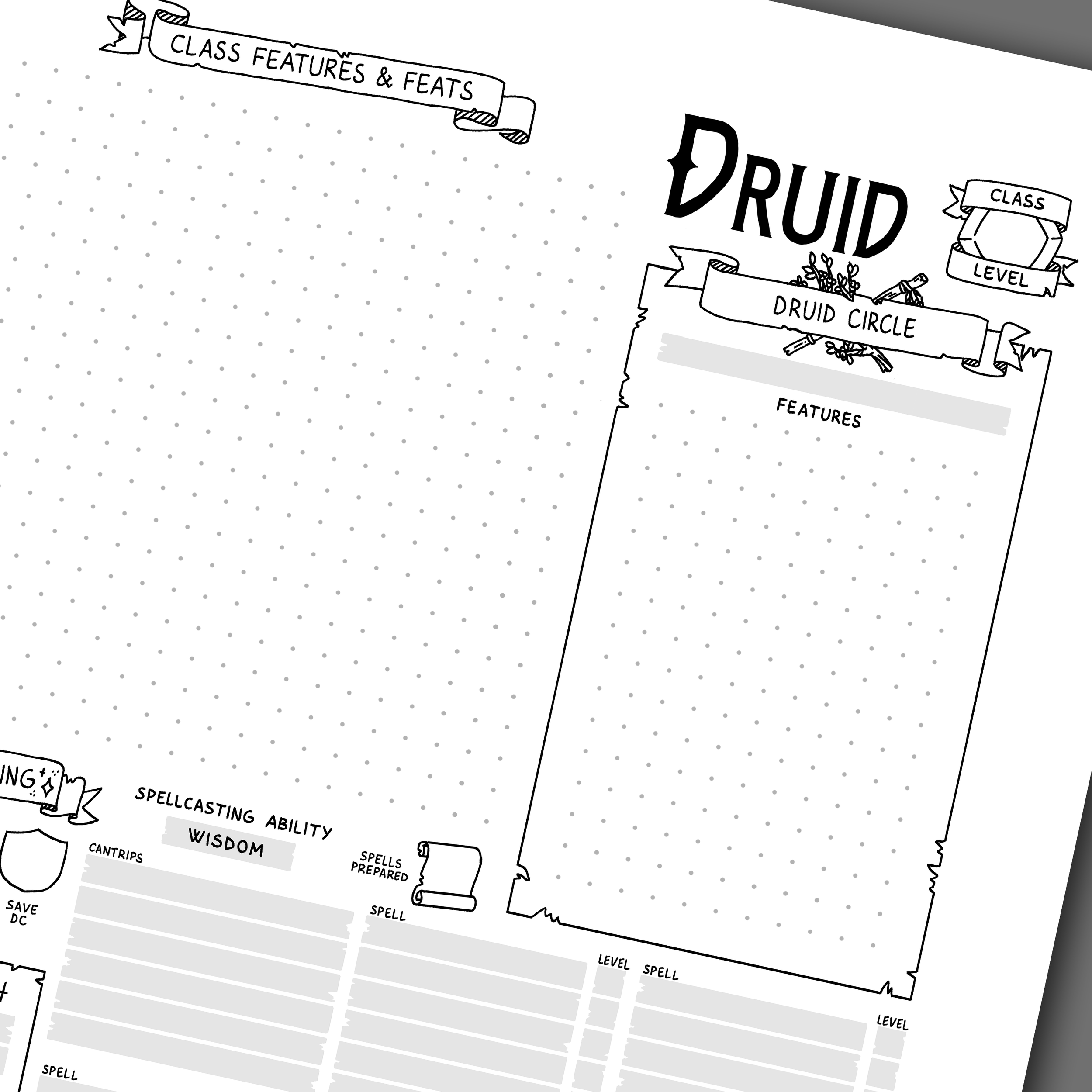 5th Edition Druid Character Sheet — Games & Stuff by Julien