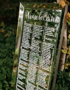 Wedding mirror seating chart sign also michigan calligrapher   calligraphy llc  rh mbcalligraphy