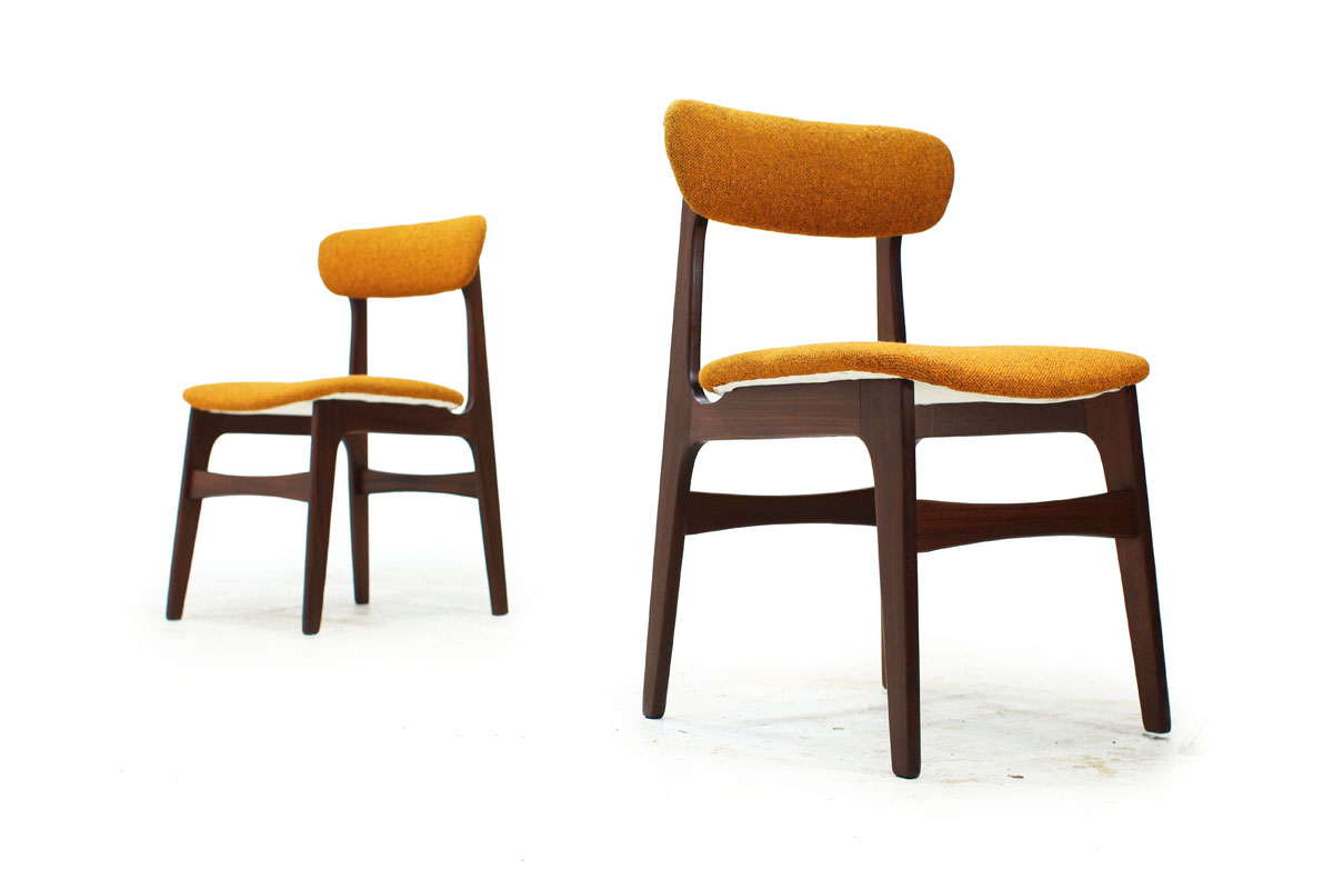 set of 4 dining chairs mesh office chair with lumbar support sold teak original fabric item 0332 furniture 1960 s canadian mcm wood yellow by r