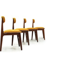 Set Of 4 Dining Chairs Swing Chair Cad Sold Teak With Original Fabric Item 0332 Furniture 1960 S Canadian Mcm Wood Yellow By R