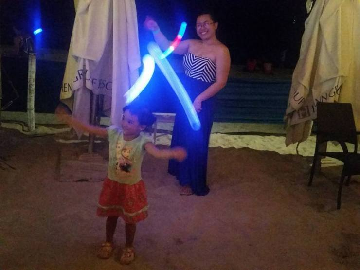 Boracay 2016 Part 2 family white sand beach palm trees blue sky toddler