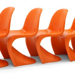 Panton S Chair Leather Wing And Ottoman Set Of Seven Orange Verner Chairs Early Herman Miller Production