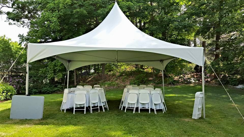 renting tables and chairs lexington dining room backyard tent rental bridgewater rentals south shore ma the 40 person package includes a 20x20 high peak with 4 round white folding 2 long for food gifts plus delivery