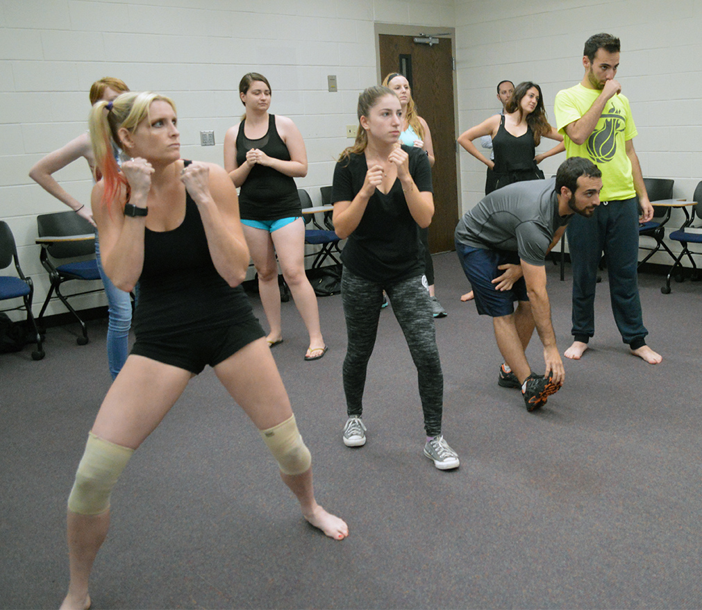 Knights for Israel members practice their fighting skills Krav Maga style in UCF's Engineering I building on Wednesday, Sept. 14, 2016. Krav Maga is a system of self-defense used by the Israel Defense Forces that combines boxing, wrestling and other fight training.