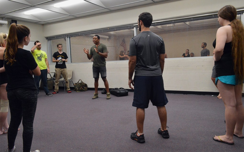 Instructor Pandit Mami, center, teaches an Israeli form of self-defense called Krav Maga to members of Knights for Israel in UCF's Engineering I building on Wednesday, Sept. 14, 2016.