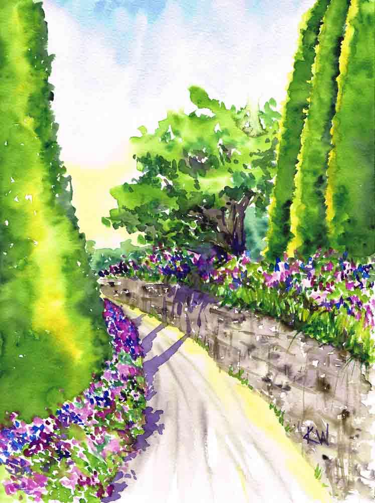Watercolor Garden : watercolor, garden, Sunlit, (Garden, Watercolour, Painting, Kerrie, Woodhouse