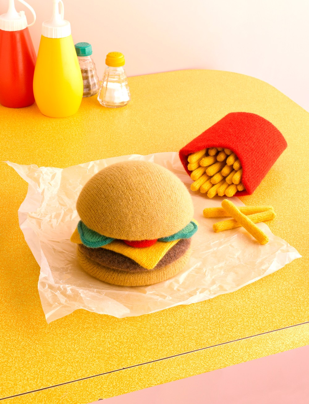 Knitted Food Knit Cheeseburger and Fries Ketchup Mustard Salt and Pepper