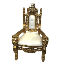 Throne Chair Cover Wedding Covers Isle Of Wight Little Celebrations Children S Event Rentals Lounge Chairs White Gold Lion