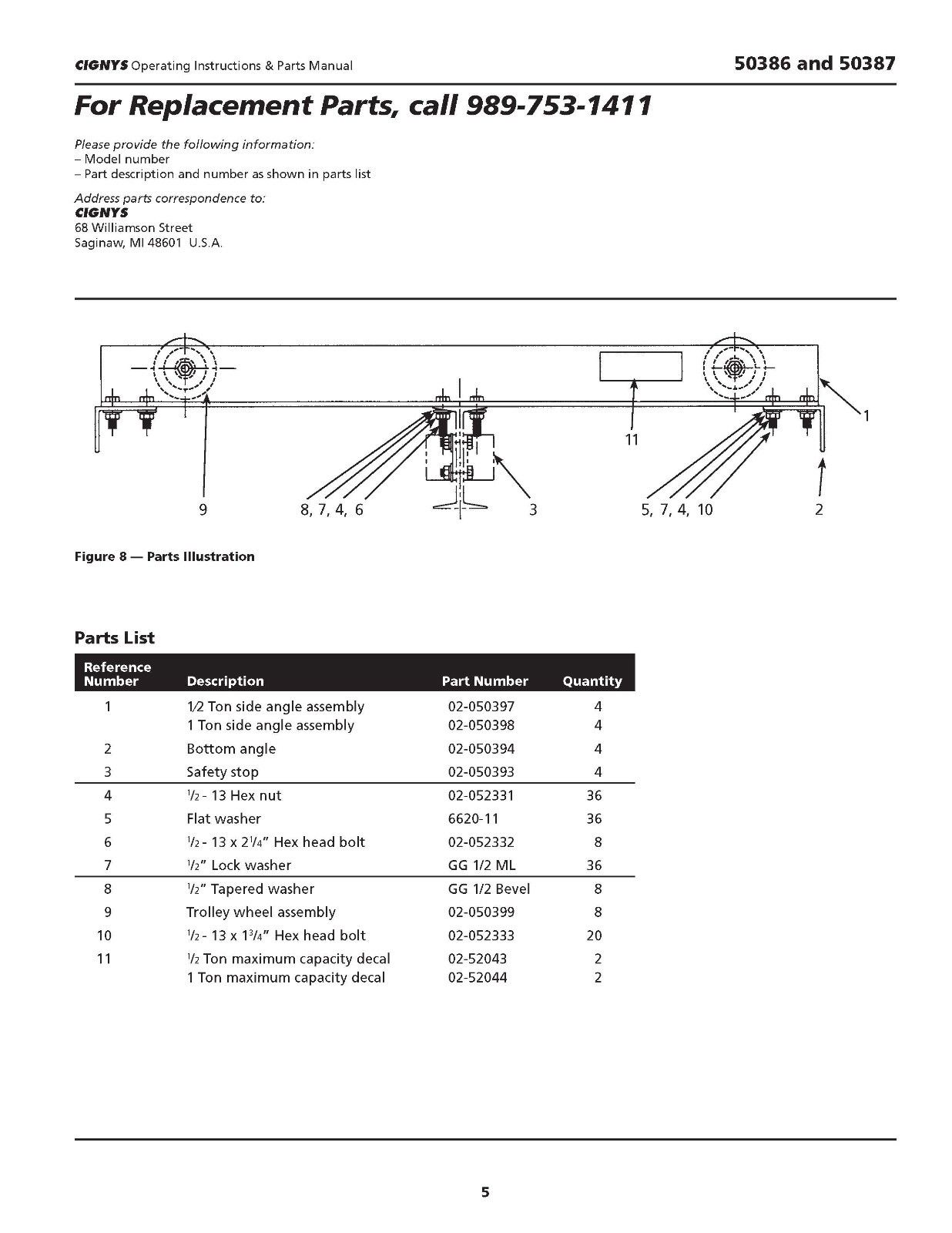 hight resolution of used bridge crane kits cignys 1 2 ton part 50386