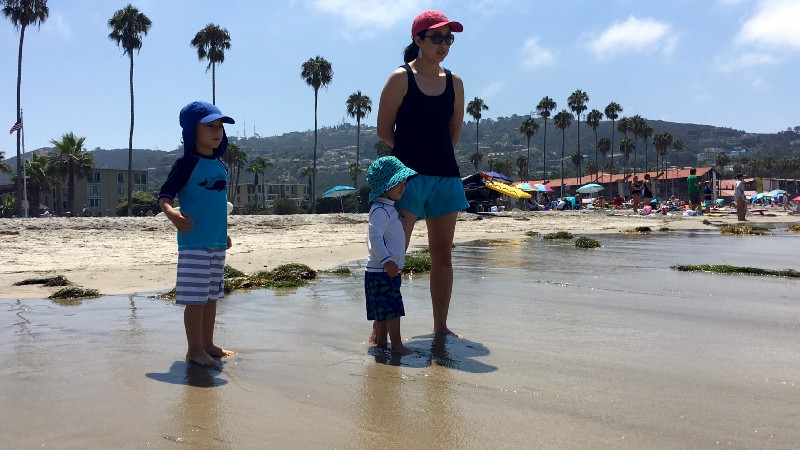 Christine and her boys on La Jolla Beach
