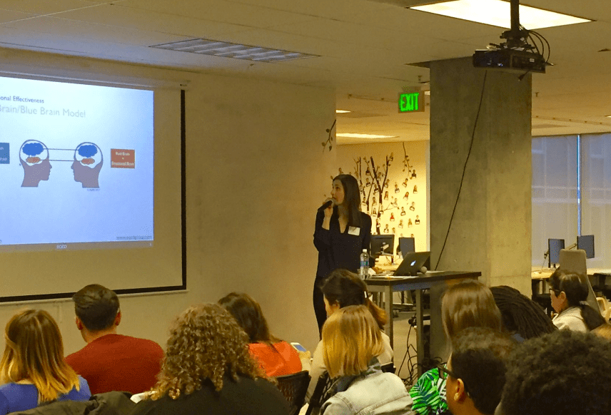 Lela Djakovic lecturing at Dev Bootcamp this spring.