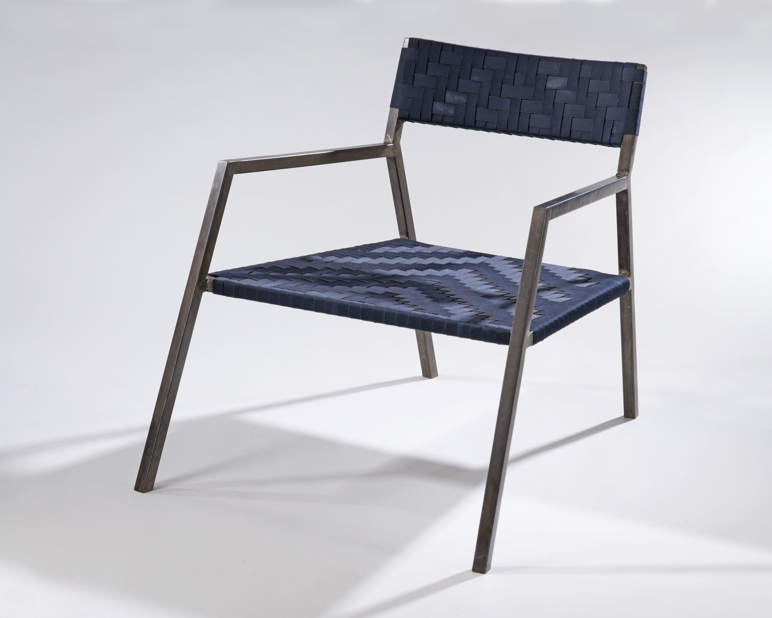 modern steel chair design rattan swing woven seats julia steketee these integrate traditional shaker tape weaving patterns with a metal the cotton and nylon webbing is hand dyed