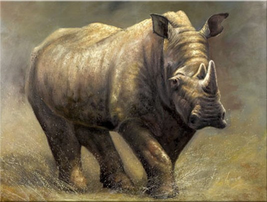rhino handmade oil painting