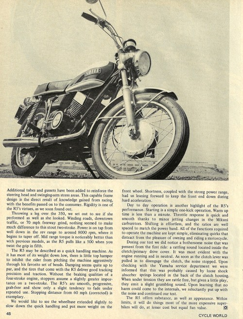 small resolution of 1970 yamaha r5 350 road test 03 jpg