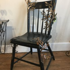 Antique Wood Chair Blue Patterned Dining Chairs Tree Branch Whitman Works Co Decor