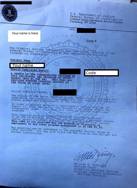 Blue Lined Fbi Applicant Fingerprint Cards Letternew