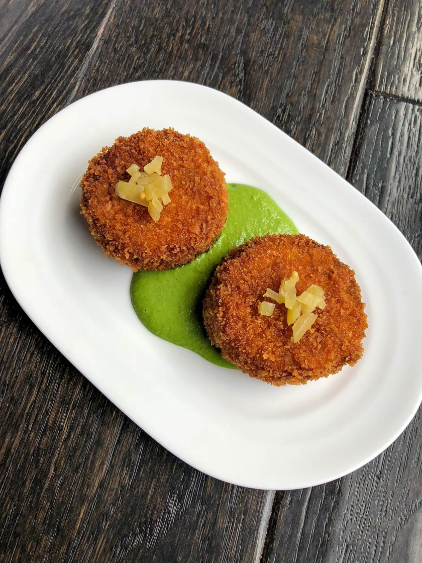 Smoked Pork Croqueta: mojo verde and pickled peppers