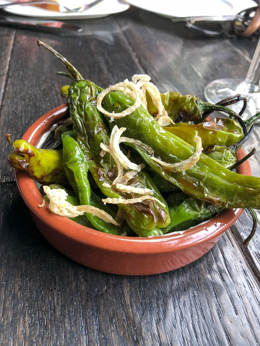 Grilled Shishito Peppers: sherry-honey, fried shallots, Espelette, sea salt