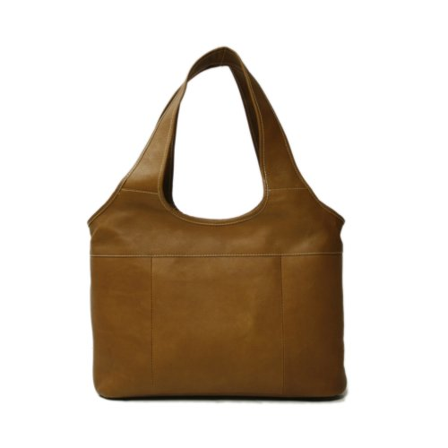 Piel Leather Laptop Hobo, Saddle, One Size $129.99 Piel Leather