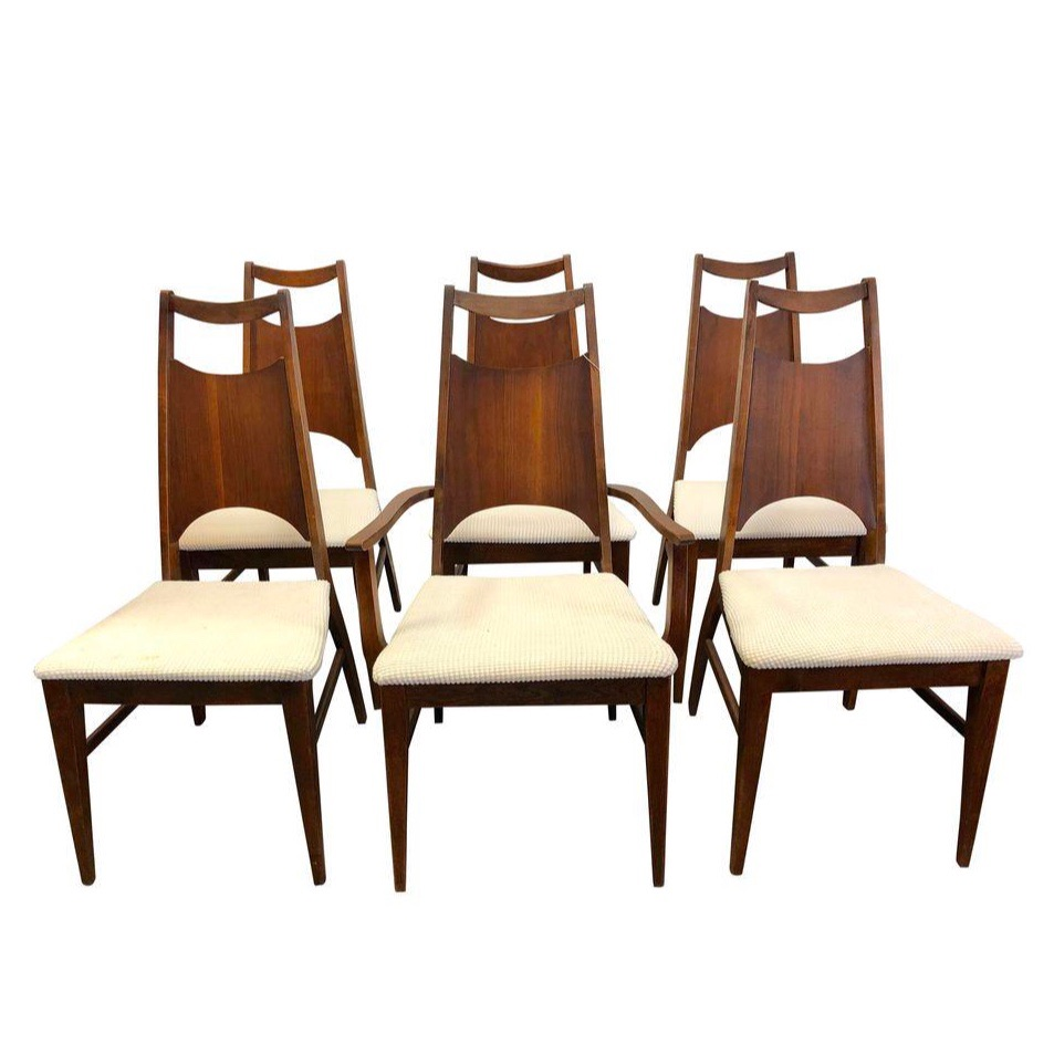 Dining Chair Set Of 6 Bassett Aragon Walnut Dining Chairs Set Of 6