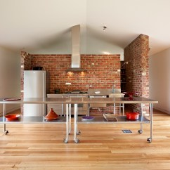 Wood Floors In Kitchen Large Rugs Tonimbuk Award Winning Holiday Home Thermal Heat Bank Walls Reclaimed Commercial Inside