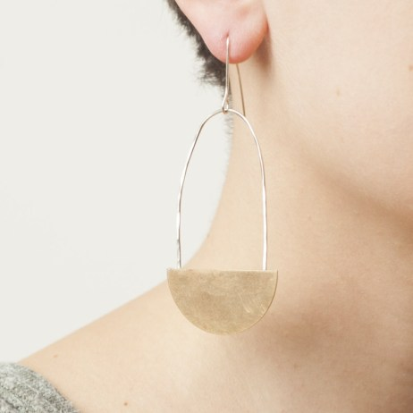 Belle Isle Design Co Swinging Party Brass Silver Earring Minimalist Style