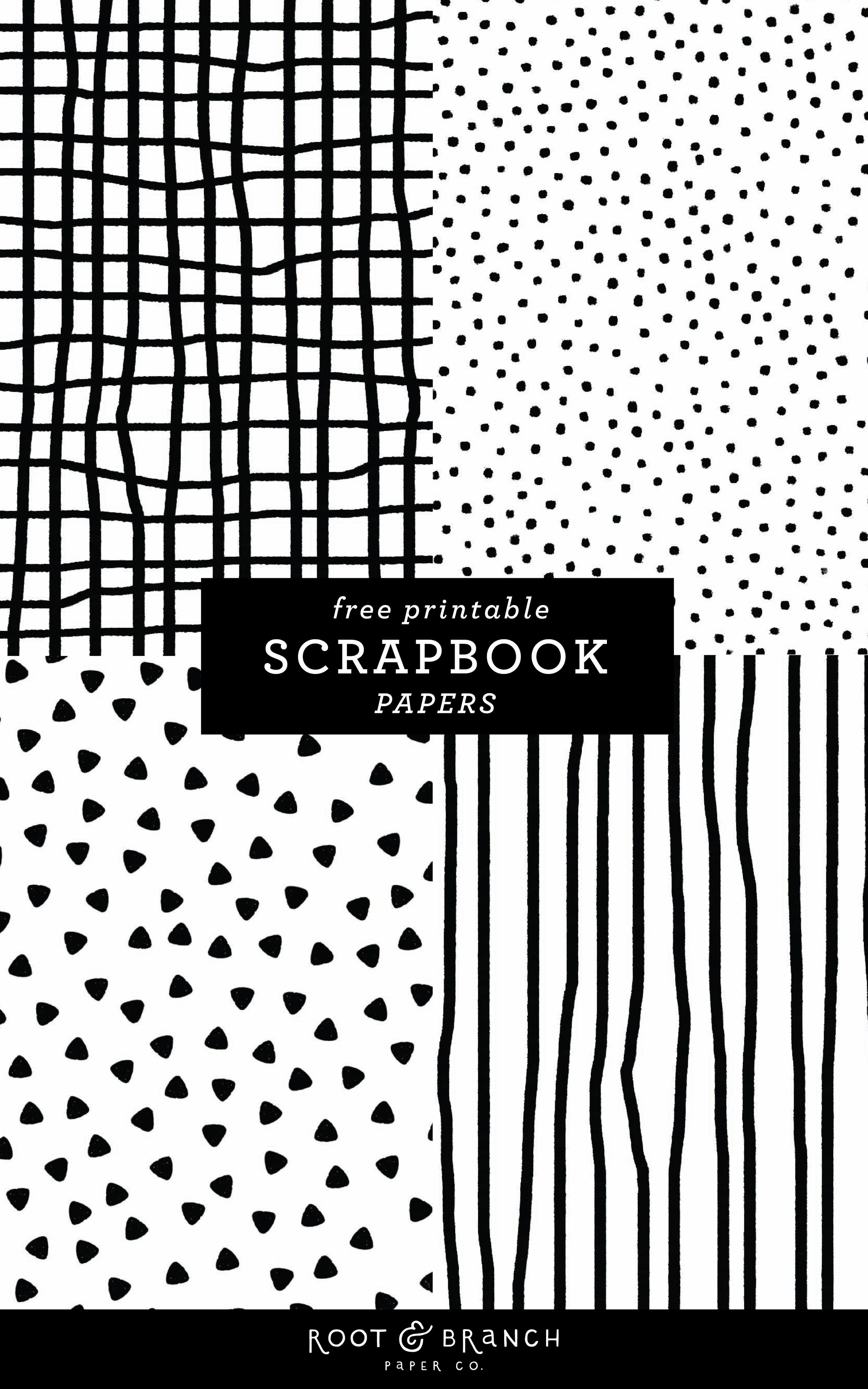 Free Printable Scrapbook Papers: Black and White Prints