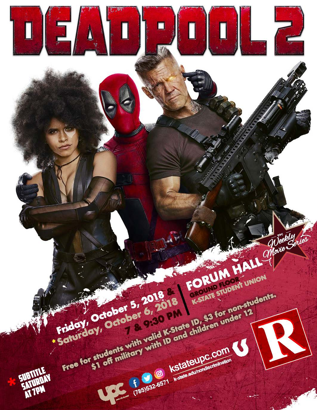 Deadpool 2 Subtitle : deadpool, subtitle, Film:, Deadpool, K-State, Student, Union, Program, Council