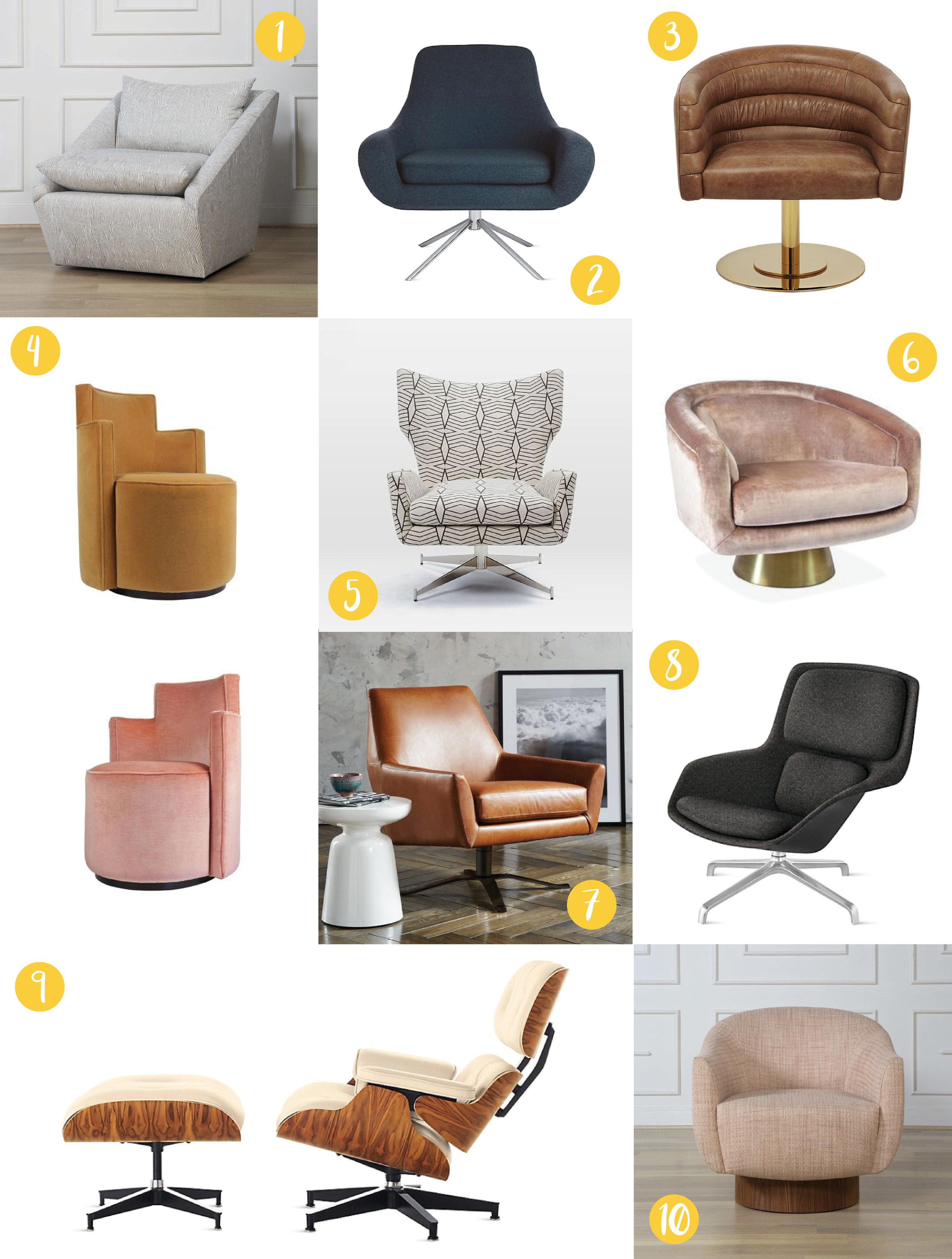 swivel chair west elm allsteel access nyla free designs inc top 10 chairs andree putman armchairs 1st dibs 5 hemming armchair 6 bacharach jonathan adler 7 lucas