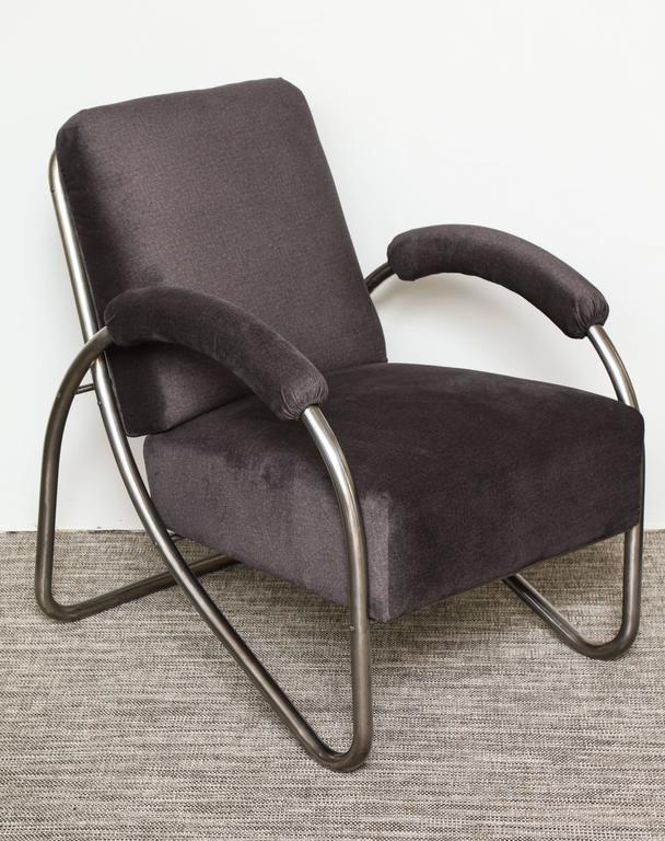 steel lounge chair argos deck covers pair of art deco bauhaus style tubular chairs and ottoman