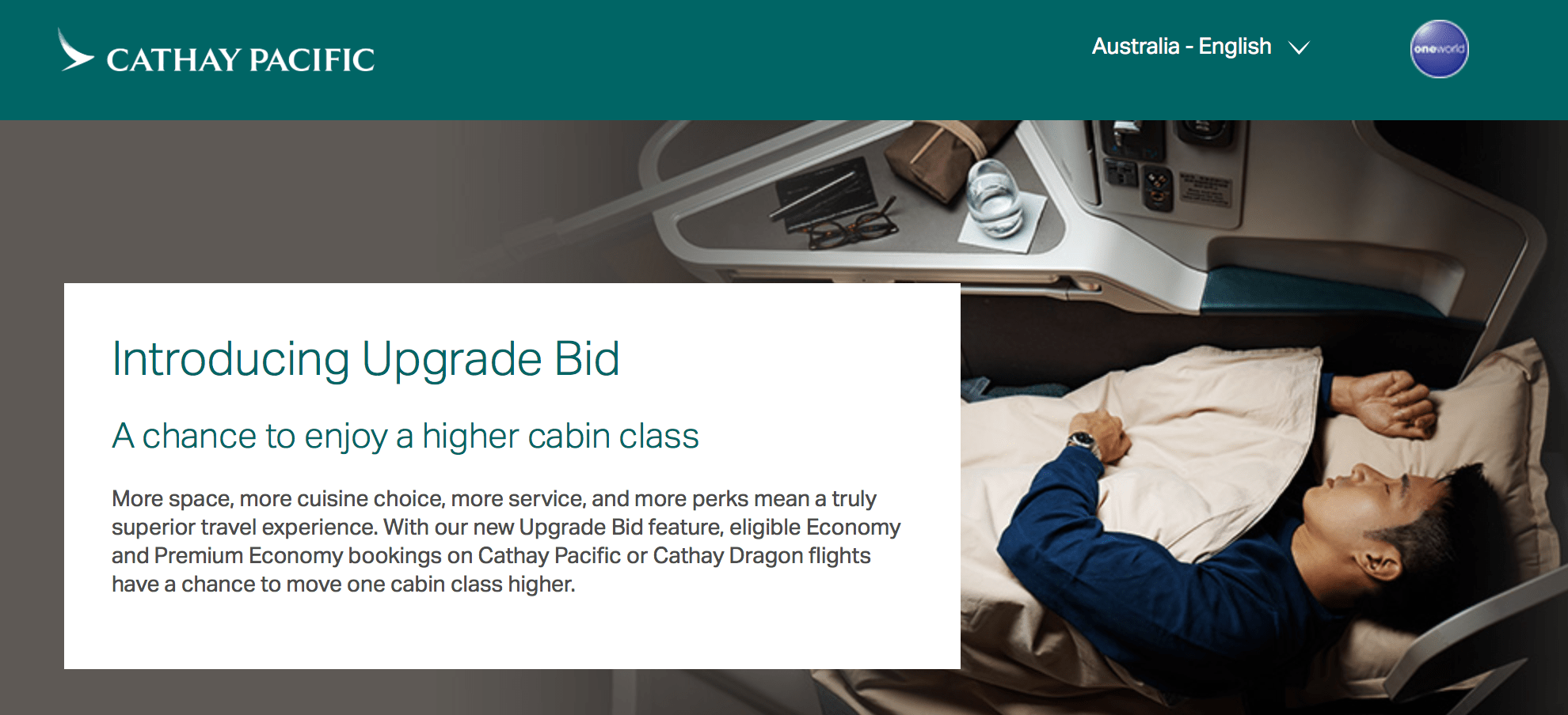 Cathay Pacific Upgrade Bid