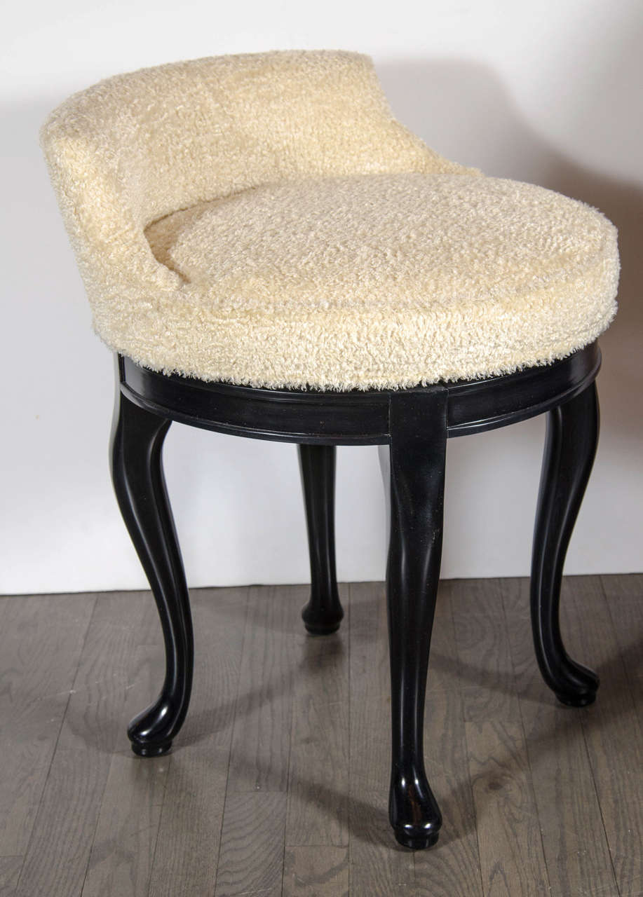 Swivel Vanity Chair 1940s Hollywood Swivel Vanity Stool In Faux Lambs Wool And Ebonized Walnut
