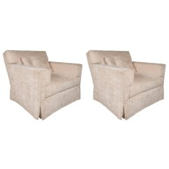 Swivel Club Chair Purple Dining Pair Of Luxurious Modernist Chairs In Pearl Corduroy Upholstery