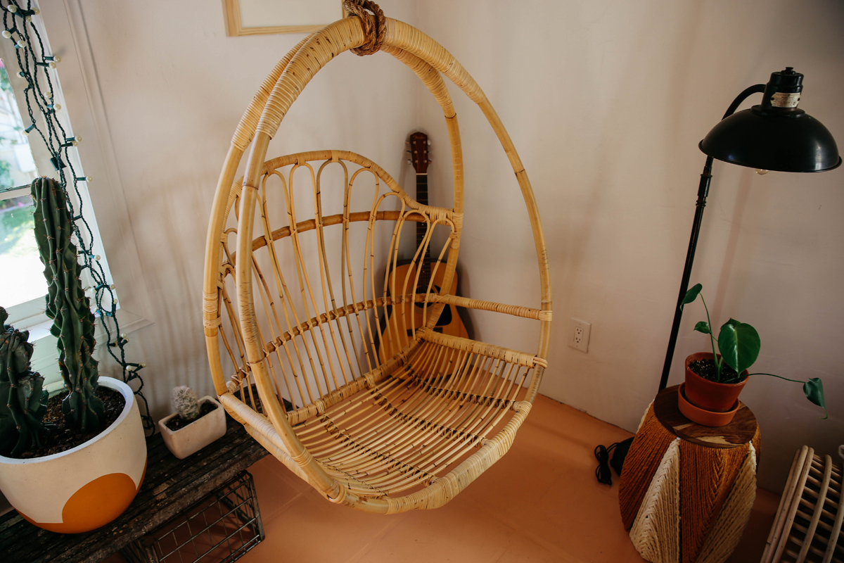 hanging chair decor bedroom chairs walmart rattan w rope thick as thieves palm springs home