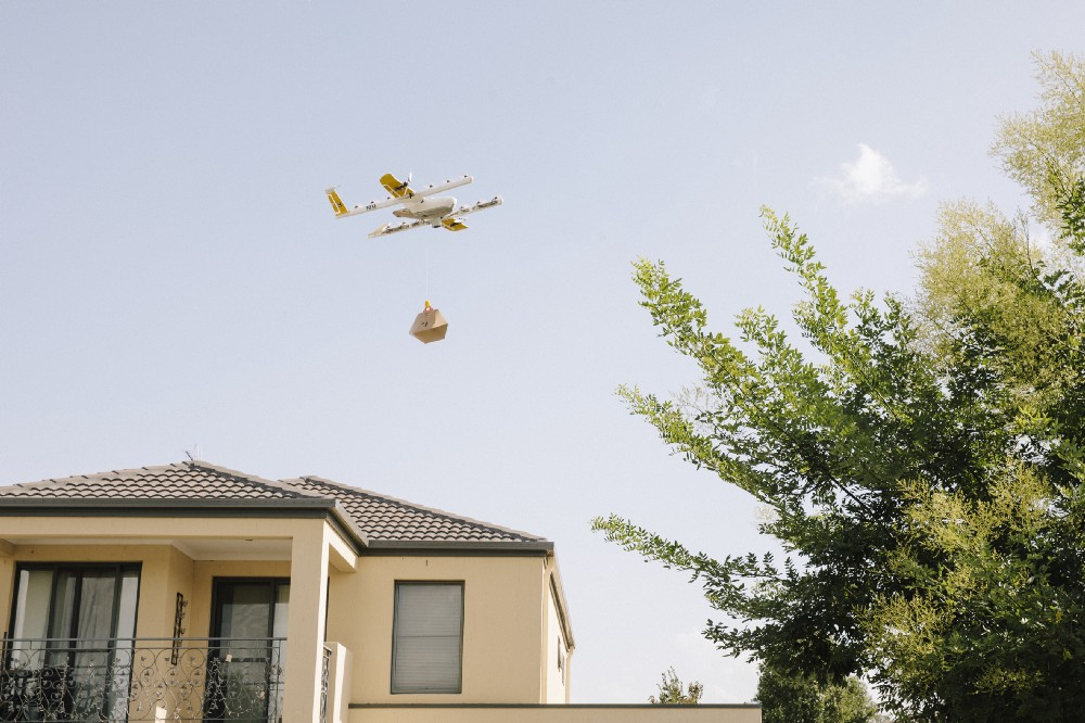 Drone delivery in Canberra. Photo credit: Wing