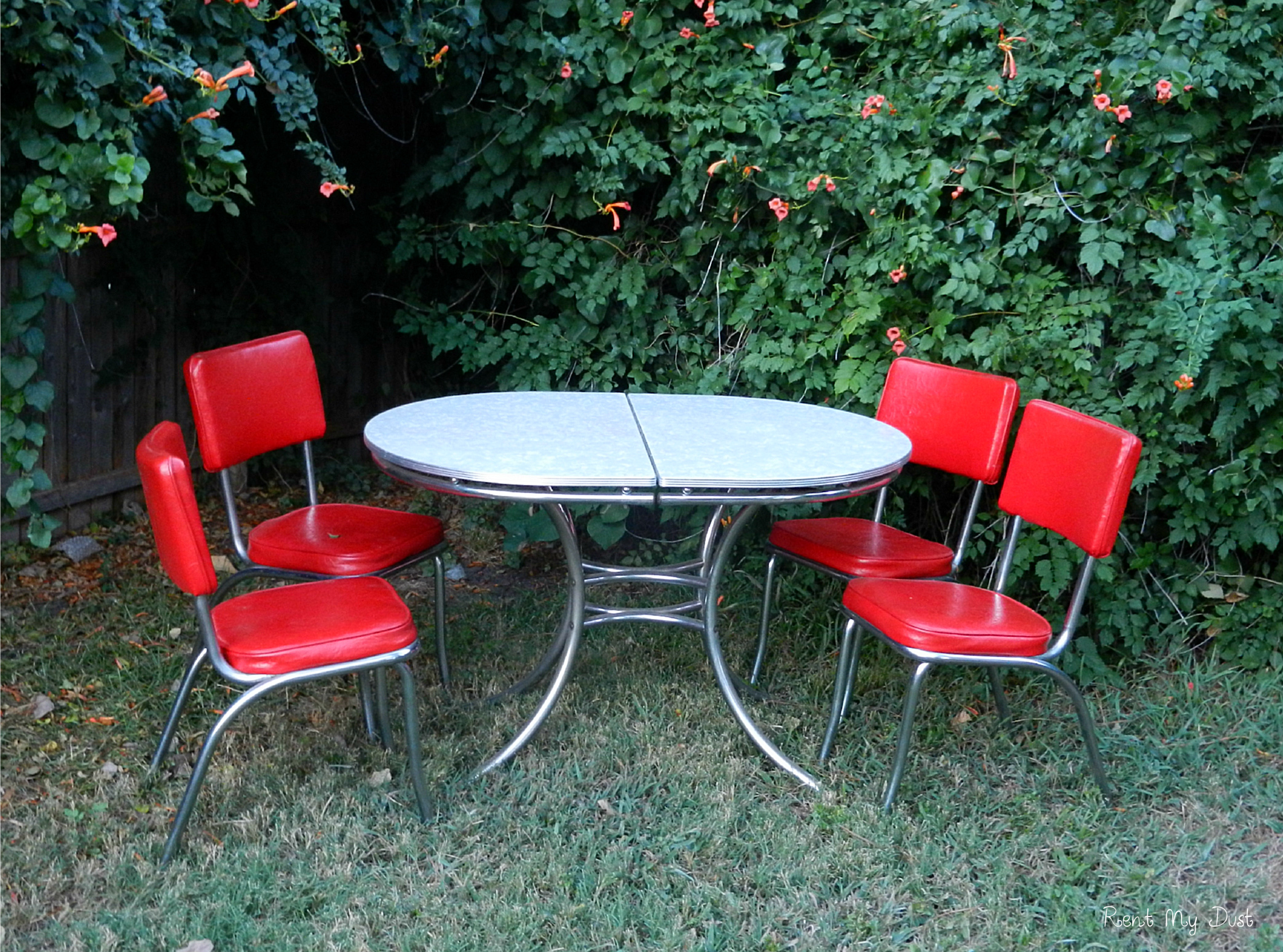 retro chrome chairs chair covers for sale gauteng 50s table with 4 red set rent my dust