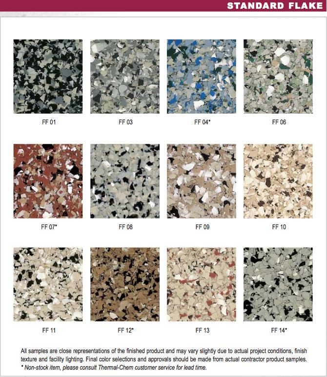 Standard flake color chartg also charts  superior epoxy waterproofing rh superiorepoxywp