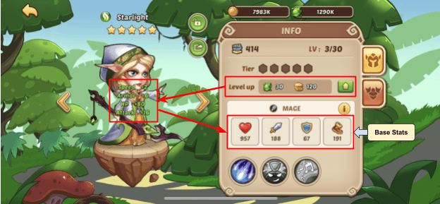 Leveling increases characters base stats