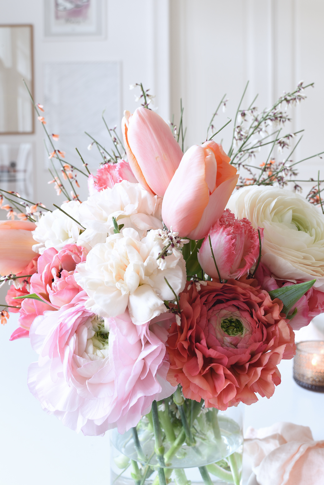 March Dinner Party Inspiration In Blush Pink Linen + Fresh Flowers