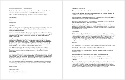 Two pages of text as the basis of my presentation
