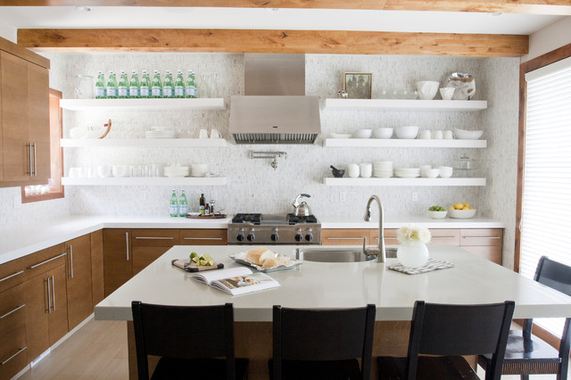 kitchen open shelves marble countertops pros and cons of shelving in the airy kitchens contemporary 1 jpg