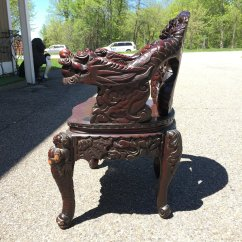 Antique Chinese Dragon Chair Brown Armless Carved Arm Ardesh