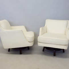 Swivel Lounge Chairs Frontgate Chair Covers Pair Of White Edward Wormley For Dunbar Tom
