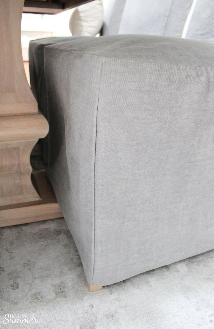 gray chair slipcover wicker patio set of 2 why i love my comfort works dining covers house full summer blog