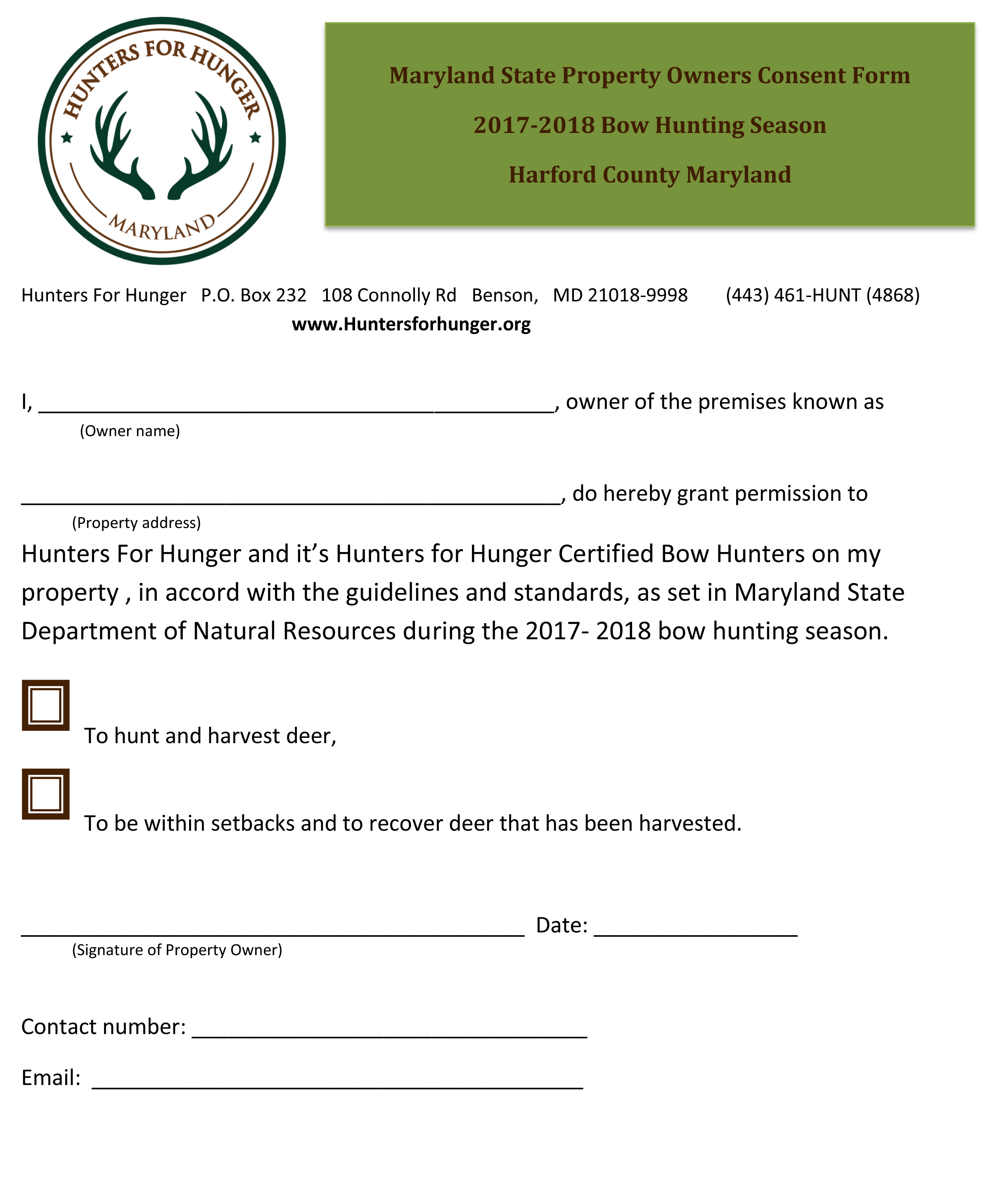 Consent Form — Hunters For Hunger