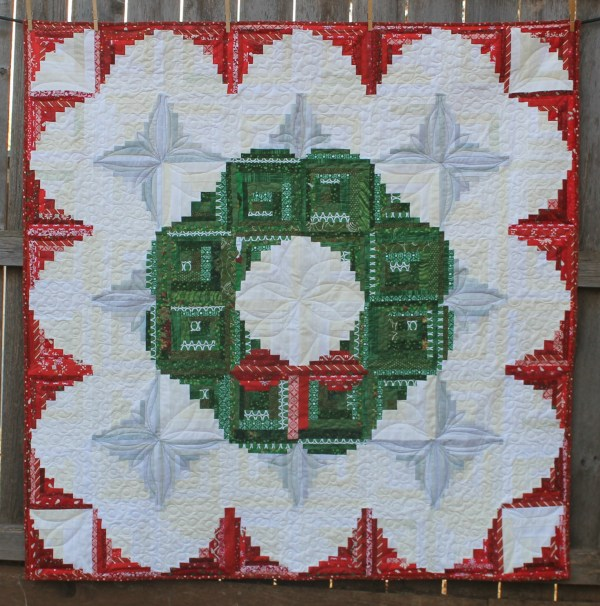 Log Cabin Quilt Pattern Christmas Wreath - Year of Clean Water